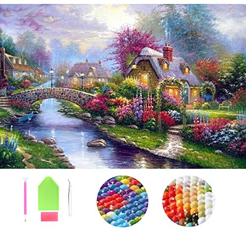 Wending Art 5D DIY Diamond Painting Kits for Adults Kids by Number Full Square Drills Cottage Landscape Rhinestone Embroidery Cross Stitch Mosaic Beads Art Work (Spring, 30x40cm)