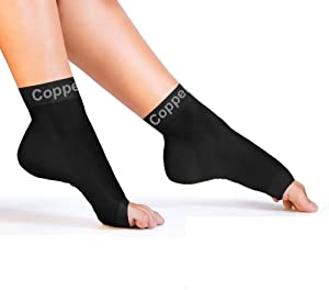 Copper Compression Recovery Foot Sleeves - Ankle and Plantar Fasciitis Support Socks. Guaranteed Highest Copper Planter Fasciitis Sock, Arch Support, Ankle Sleeve. Fit for Men and Women - 1 Pair