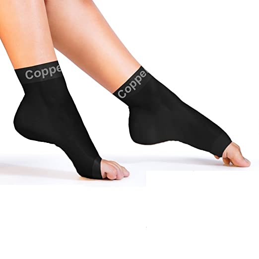 Picture of a woman wearing the Copper Compression Foot Sleeves