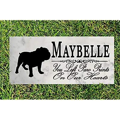 Broad Bay Bulldog Dog Memorial Personalized Stone Marker Gift Custom Garden Marker Memory Sign Outdoor Grave Headstone: Kitchen & Dining