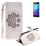 Sony Xperia Z2 Strap Case with Free Screen Protector,Funyye Colourful Print PU Leather Wallet Stand Full Body Protection Case Cover Skin - Lucky Flower