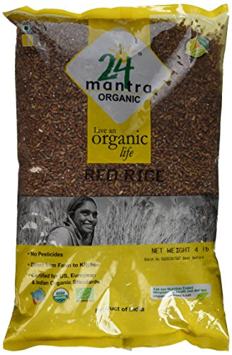Organic Red Rice - USDA Certified Organic - European Union Certified Organic - Pesticides Free - Adulteration Free - Sodium Free - 4 Lbs - 24 Mantra Organic