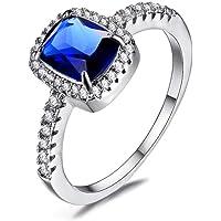 Finger RingsLuxury Female Girl Crystal CZ Stone Ring Boho Silver Color White Pink Yellow Ring Promise Engagement Rings…