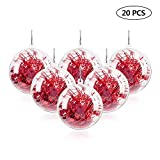 Uten 20Pcs DIY Ornament Balls Christmas Decorations Tree Ball 3.15'/80mm Clear Fillable Baubles Craft for New Years Present Holiday Wedding Party Home Decor