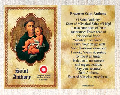 - E's Guardian Angel Saint/St Anthony Relic Holy Card Patron of Lost Items Made in Italy