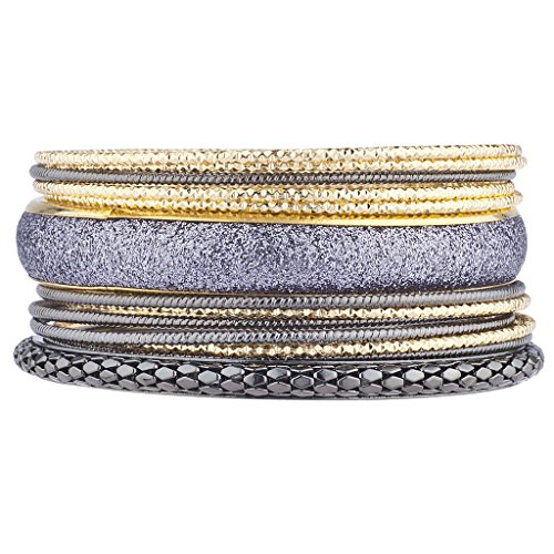 Lux Accessories Hematite Gold Tones Gunmetal Glitter Mesh Diamond Cut Bangle Set