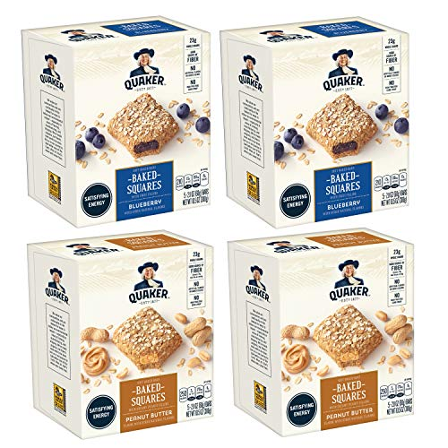 Quaker Baked Squares, Soft Baked Bars, Peanut Butter & Blueberry, 5 Bars (Pack of 4) ()