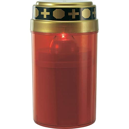 Leuchtdauer bis ca 4er Set LED Kerze Grabkerze Grablicht Ewiges Licht Elektro flackerndem Kerzenschein Rot f/ür 2 x Baby LR14 Batterien - nicht enthalten 180 Tage