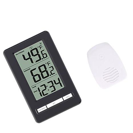 MagiDeal Reloj Termómetro Digital Inalámbrico con Sensor de Temperatura Exterior Cubierta - Temperatura