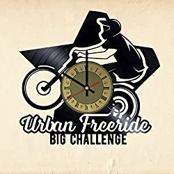 Urban Freeride Vinyl Wall Clock Bike Unique Gifts Living Room Home Decor