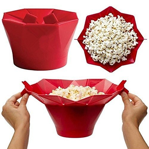 Silicone Microwave Magic Popcorn Maker,gloednApple Creative DIY Popcorn Container Healthy Cooking (Red)