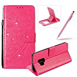 Diamond Wallet Case for Galaxy S9,Strap Portable Leather Case For Galaxy S9,Herzzer Stylish Bling Hot Pink Butterfly Embossed Pu Leather Magnetic Flip Folio Protective Case
