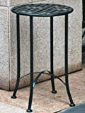International Caravan Mandalay 15'' Wrought Iron Table in Vert Gris