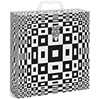 TUNES-TOTE ROUND ILLUSION BLACK LP VINYL RECORD STORAGE CASE, 12 - ALBUMS - 33-1/3 RECORD CARRY BOX