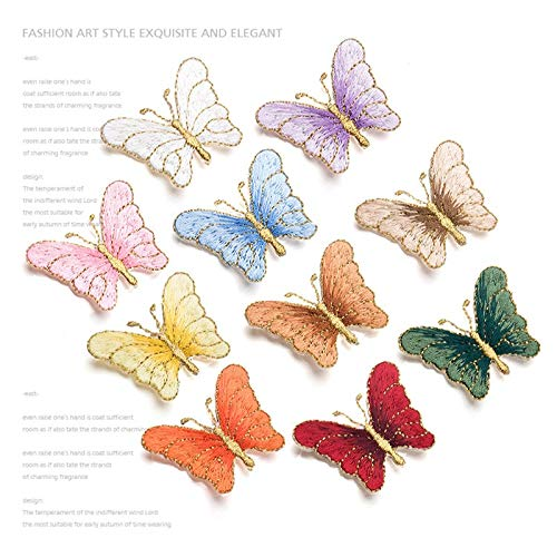 Appliqu - 10pcs Lot Fashion Butterfly Embroidery Cloth Sticker Clothes Patch Applique Diy Repair Hole - Kits Books Yellow Lines Polish Tops Extérieur Accessories Evening Crosses Sleeves]()