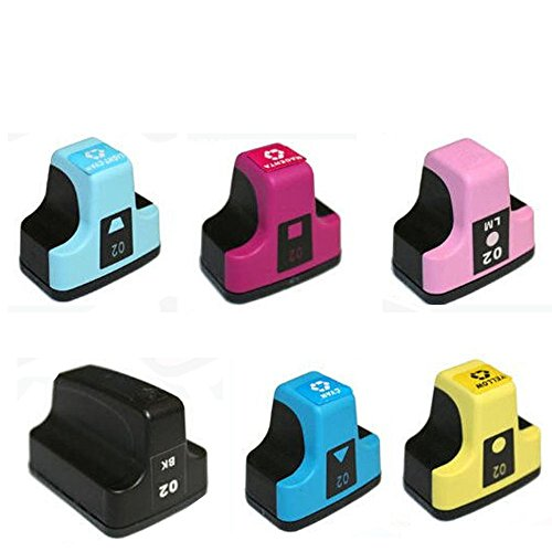 HOTCOLOR Ink Cartridges FOR HP 02 Replacement Inkjet HP02 Bulk Set of 6 Ink Cartridges: 1 Black + 1 Cyan, Magenta, Yellow, Light Cyan, Light Magenta