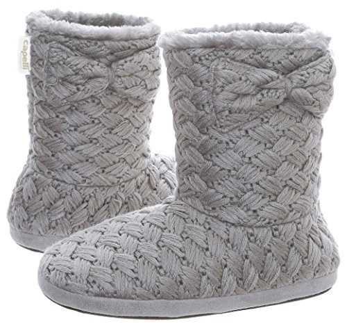 Capelli New York Ladies Knit Boot With Faux Fur Trim Indoor Shoes Pewter Grey EXDH8Q