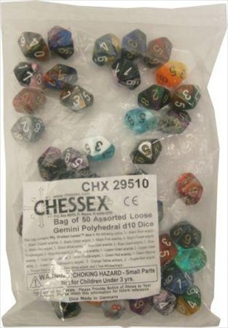 【お買得!】 Chessex Manufacturing 29510 Gemini Poly B00806PA3I D10 Assorted Dice, 50 Bag Manufacturing - 50 B00806PA3I, e-Bagshop:c4c99832 --- hohpartnership-com.access.secure-ssl-servers.biz