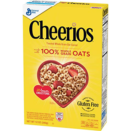 - Cheerios, Gluten Free, Cereal with Whole Grain Oats, 12 oz Box
