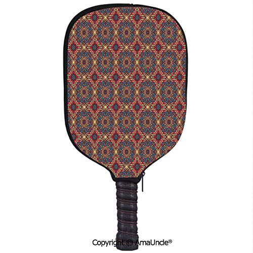 SCOXIXI Neoprene Sports Pickleball Paddle Cover Sleeve,Personalized Arabesque Middle East Ottoman Oriental Famous Carpet Patten Like Glass ArtworkRacquet Cover,Lightweight,Durable and Portable