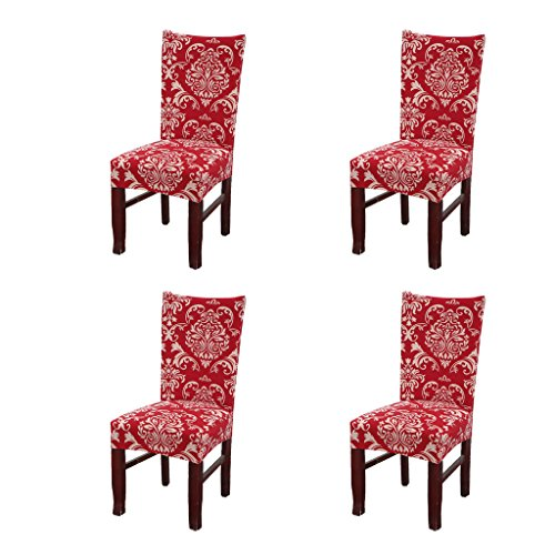 SoulFeel Set of 4 x Stretchable Dining Chair Covers, Spandex Chair Seat Protector Slipcovers for Holiday Banquet, Home Party, Hotel, Wedding Ceremony (Retro Style, Red)