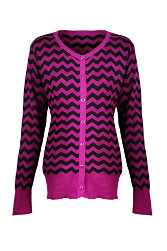 G2 Chic Women's Button Down Chevron Knit Cardigan(TOP-CGN,PPL-S)