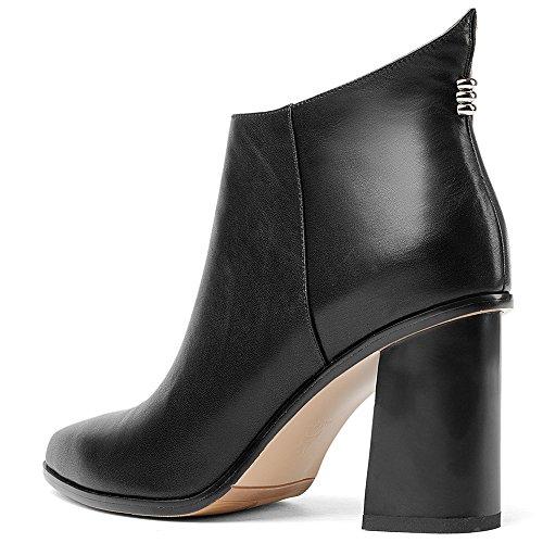 Nio Sju Äkta Läder Womens Spetsig Tå Chunky Häl Dragkedja Avslappnad Handgjorda Designade Boots Svart