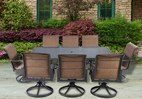 Pebble Lane Living Weather Resistant 9pc Cast Aluminum Powder-Coated Swivel Sling Rocker Patio Dining Furniture Set with Arms - Brown (Sling Patio Furniture Aluminum Cast)