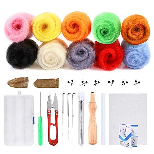 PP OPOUNT Wool Felt Tools Needle Felting Starter Kit with 10 Colors Wool Roving Felting Basic Kit for Needle Felting