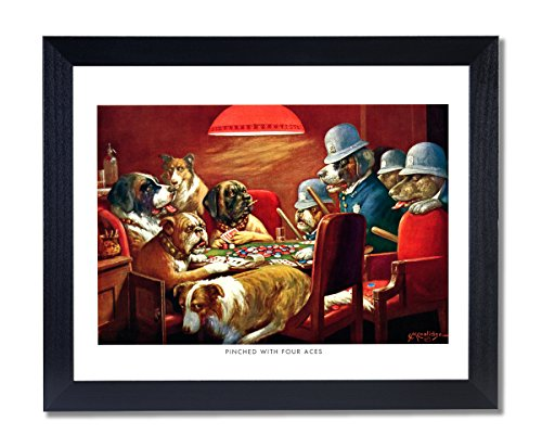 Solid Wood Black Framed Coolidge Dogs Playing Poker At Table Pinched With 4 Aces #6 Animal Pictures Art Print ()