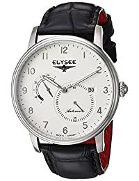 ELYSEE Men's 'Classic-Edition' Automatic Stainless Steel and Leather Casual Watch, Color:Black (Model: 77015.0)