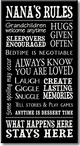 My Word! Nana's Rules - 8.5 x 16 Decorative Sign, Black with Cream Lettering