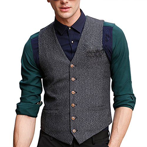 Zicac Men's Unique Advanced Custom Vest Skinny Wedding Dress Waistcoat (L,Gray)