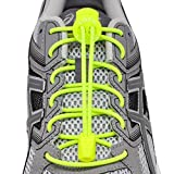LOCK LACES (Elastic No Tie Shoe Laces) (Pack of 3) (Neon Yellow-Blue-Gray)