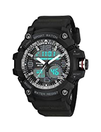 Tmore Analog Digital Watch Dual Time Display Multifuctional Sports Watch with LED Backlight for Men (Black)