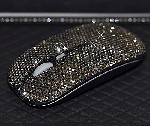 TISHAA Bling Very Stylish Sophisticated Dazzling Wireless Mouse Covered with Rhinestone Crystal with USB Receiver,Slimline Flat Computer Laptop Mouse,Great Gift idea for Her (Black Mouse) ()