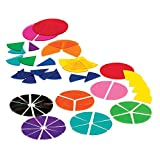 ETA hand2mind Plastic Rainbow Fraction Circles Bulk Classroom Kit with Storage Tote (Pack of 15)