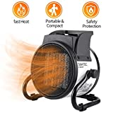 DAHTEC Fan Forced Ceramic Portable Electric Heater with Adjustable Thermostat 20/750/1500W Mini Air Heater Space Heater Home