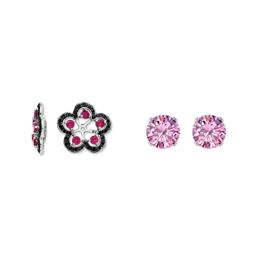 Sterling Silver Simulated Ruby and Black Simulated Sapphire Earring Jacket + 2mm Pink CZ Stud Earrings