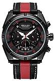 Mens Fashion Leather Chronograph Sports Watch Military Black Quartz Analog Watche (red)