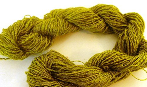 Bright Lime Green Cotton Rayon Lace / Fingering Boucle Art Yarn (Cotton Boucle)