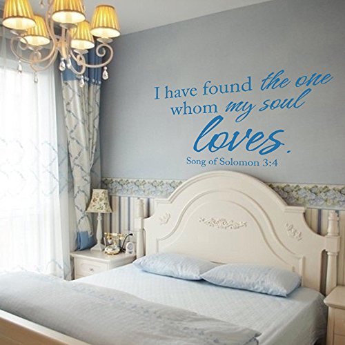 MairGwall I Have Found The One My Soul Loves (Song Of Solomon 3:4) - Wall Quote Decal Christ Bible Verse Art Sticker Home Decor (Black, X-Large) -