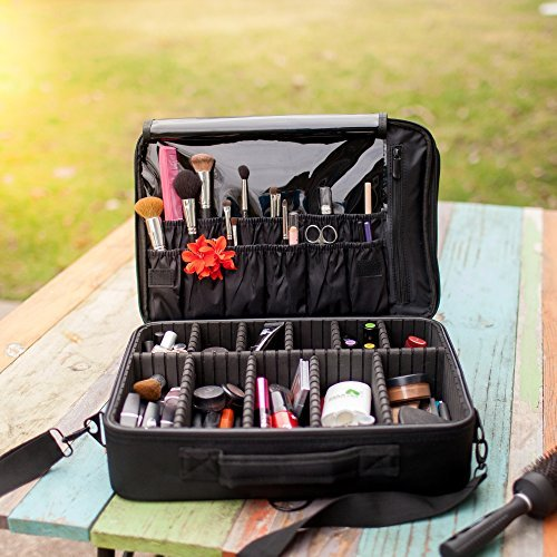 New BEST Professional Makeup Case Travel Makeup Bag Makeup Artist Cosmetic Train Case Cosmetic Organizer Big Makeup Bag Perfect Gift - Makeup Organizer & Makeup Brush Holder Bag/ Designer Makeup (Makeup Artist Bags)