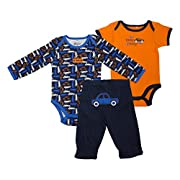 Baby Gear 3Pc Newborn Boy Car Long & Short Sleeve Bodysuit and Pant Set 0-3M