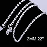 Zhiwen 5pcs 925 Sterling Silver 2MM Rope Chain Lobster Claw Clasp necklace jewelry (22 Inch)