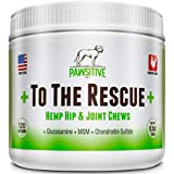+ To The Rescue + Hemp Hip and Joint Supplement for Dogs –Glucosamine, Chondroitin, MSM & Turmeric Joint Support for Arthritis Pain Relief & Improved Mobility - 120 Chewable Soft Chews Treats