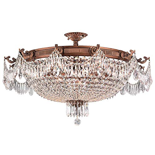 Worldwide Lighting Winchester Collection 12 Light French Gold Finish and Clear Crystal Semi Flush Mount Ceiling Light 36