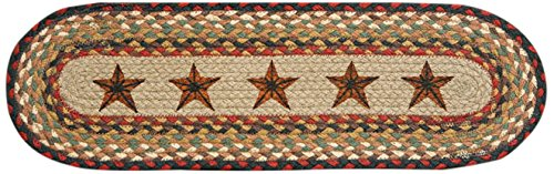 Braided Stair Runners - Earth Rugs 49-ST019 Barn Stars Printed Oval Stair Tread, 8.25 by 27