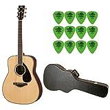 YAMAHA FG830 Natural Folk Guitar w/ Hard Shell Acoustic Guitar Case & Tortex Standard .88mm Guitar Picks