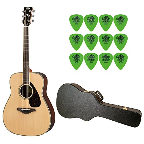 YAMAHA FG830 Natural Folk Guitar w/ Hard Shell Acoustic Guitar Case & Tortex Standard .88mm Guitar Picks